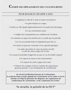 Charte des cyclotouristes